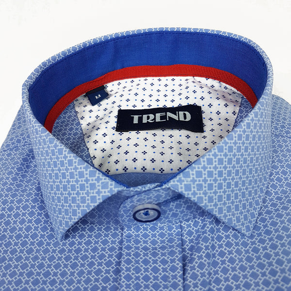 Trend Boys Blue Patterned Long Sleeved Shirt
