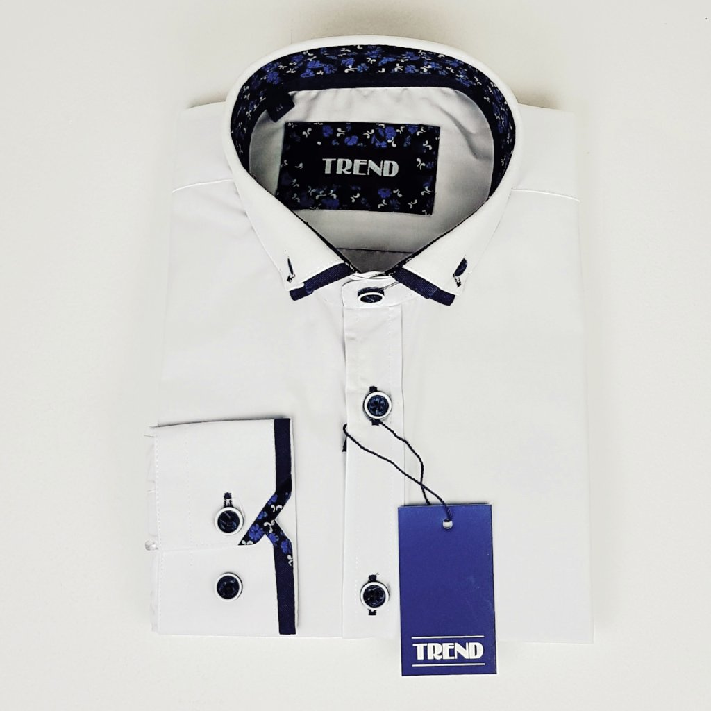 Boys white shirt with navy trims on cuff and collar