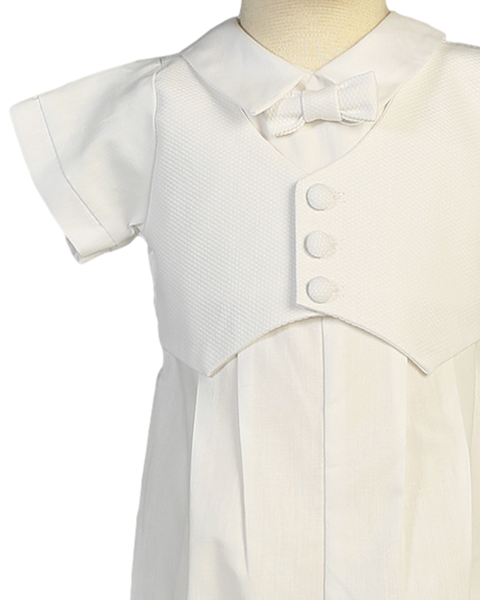 Boy's White Cotton Christening Romper With Matching Cap