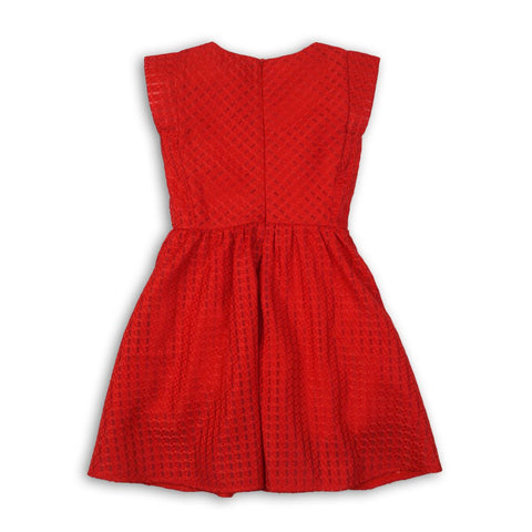Minoti Girls Red Mesh Cap Sleeve Dress