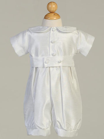 Boy's White Christening Romper With Matching Hat