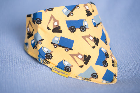 Bandana Bib in Yellow With Trucks & Diggers front