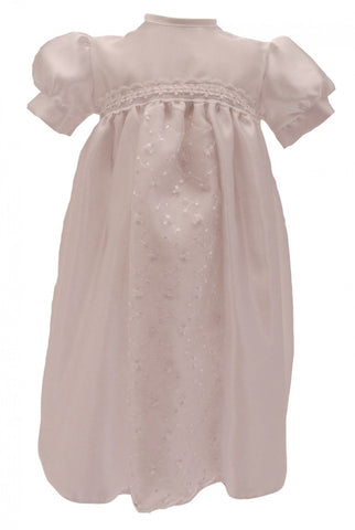 White Christening Gown with Floral Lace Inlay