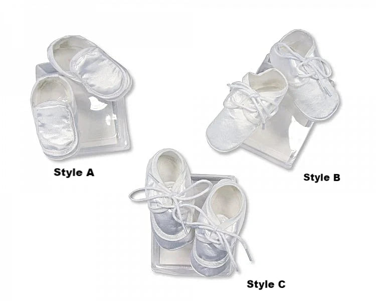 Baby Boy Soft White Satin Christening Shoes