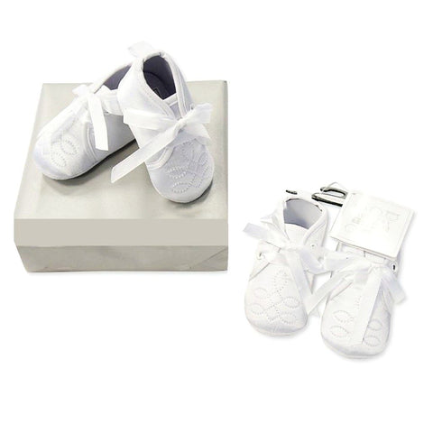 Sheldon White Baby Christening Shoes with Satin Lace-Up
