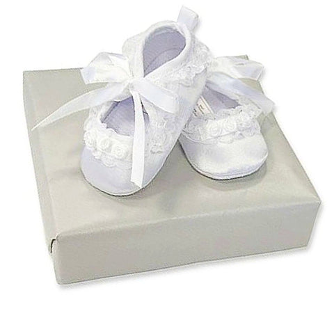 White Baby Girl Christening Shoes with Floral Details