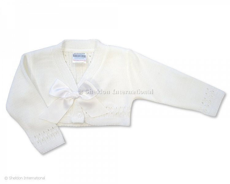 Sheldon Baby Girl White Knit Belero Cardigan