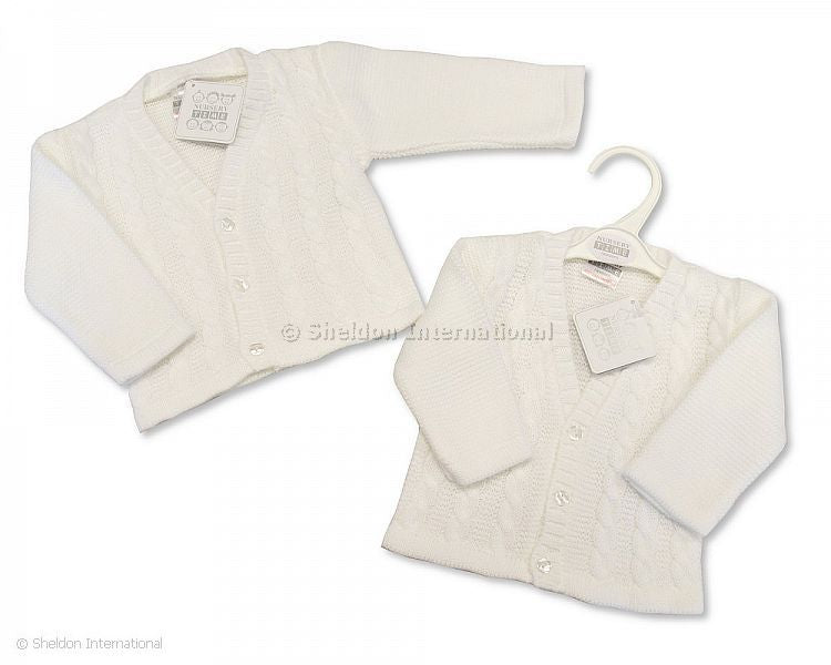Sheldon Baby Boy White Cable Knit Cardigan