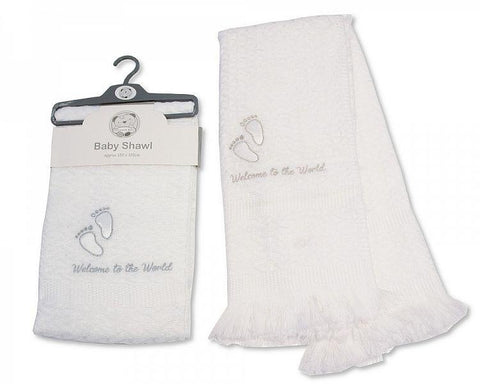 Baby White Christening Shawl with Satin Feet Embroidery