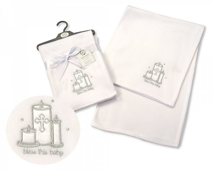"White Snuggle Baby Wrap with ""Bless This Baby"" Embroidery"
