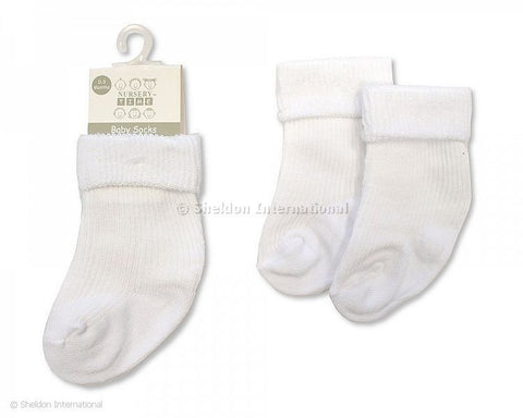 Baby White Ribbed Ankle Socks
