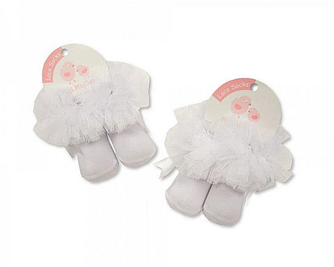 Baby Girl White Frilly Lace Socks with Satin Bow