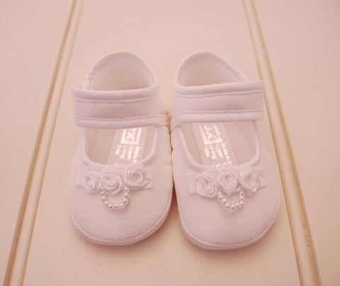 White Satin Baby Girl Christening Shoes