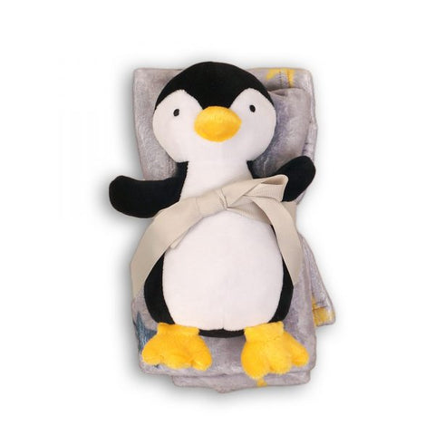 Minoti Baby Boy Fleece Blanket and Penguin Toy Gift Set