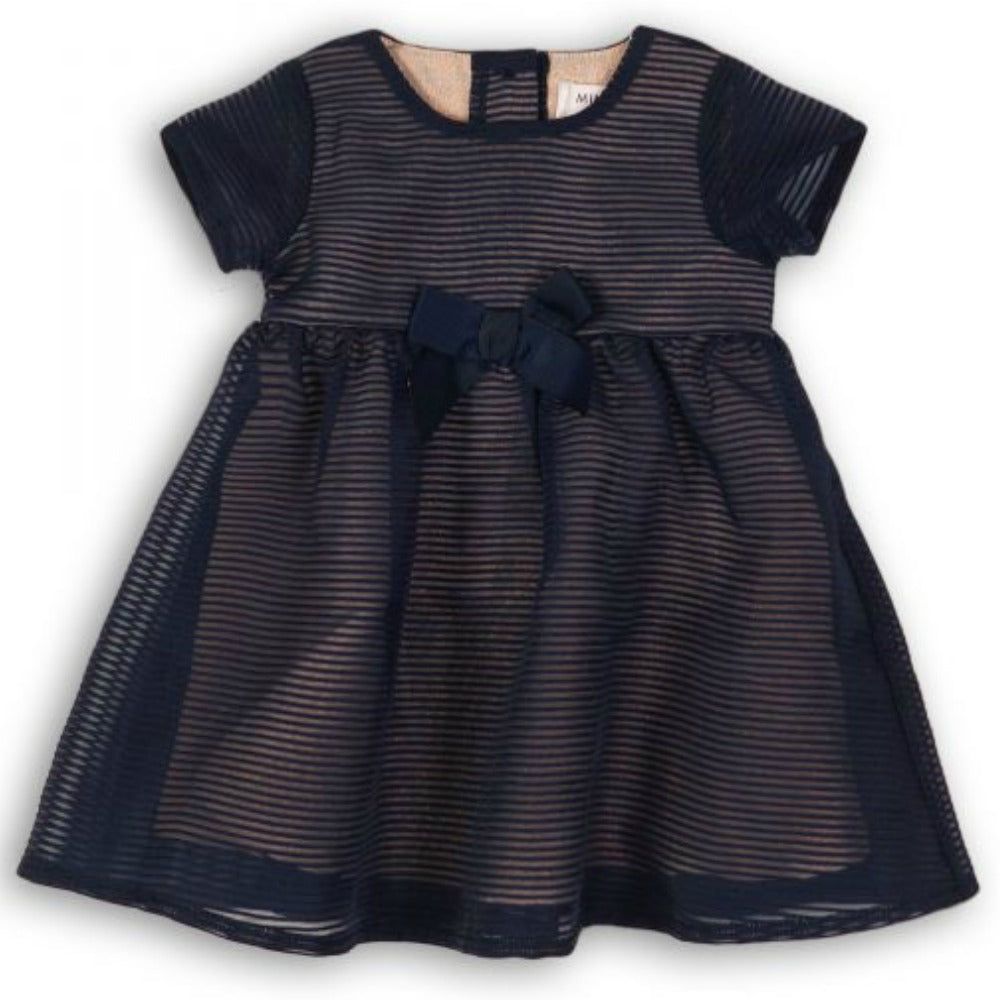 Minoti Baby Girl Organza Stripe Navy Party Dress