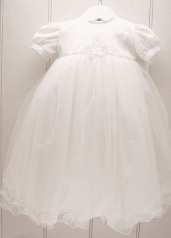 White Christening Gown with Butterfly Applique