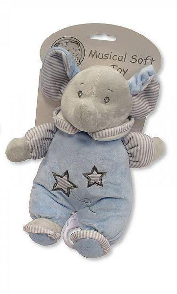 Sheldon Snuggle Baby Boy Blue Soft Musical Elephant Toy