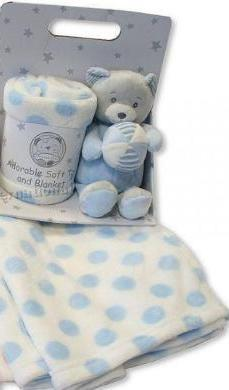 Sheldon Snuggle Baby Boy Blue Bear Soft Toy & Blanket Gift Set