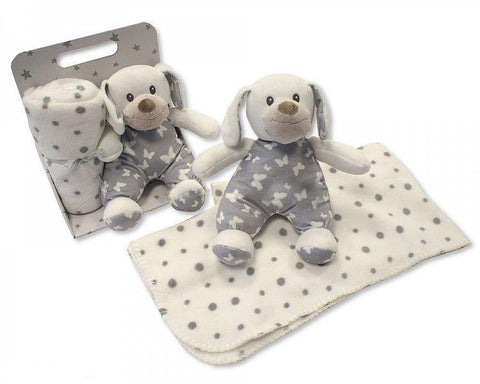 Sheldon Snuggle Baby White & Grey Soft Puppy Toy with Blanket