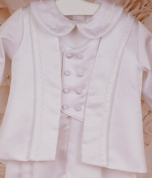 Boy's White Christening Romper Suit with Jacket