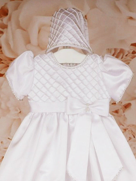 White Christening Gown with Diamante Trim and Matching Bonnet