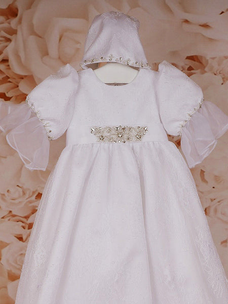 Sweetie Pie Christening Gown with Diamond and Pearl Detail and Matching Bonnet