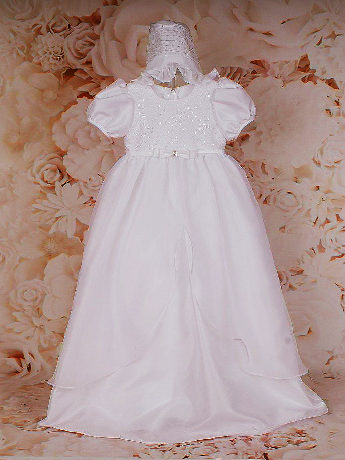 Sweetie Pie Christening Gown with Sequin Detail and Matching Bonnet