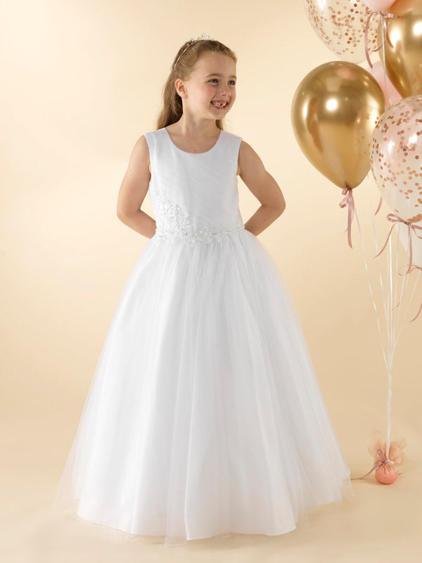 Girls Communion Dress LWCD35WT Little White Collection