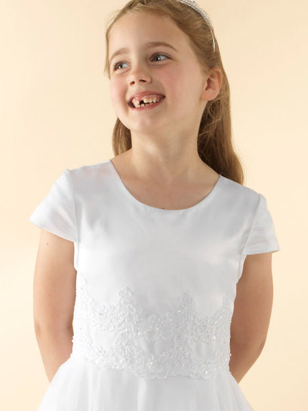 Girls Communion Dress LWCD36WT Little White Collection