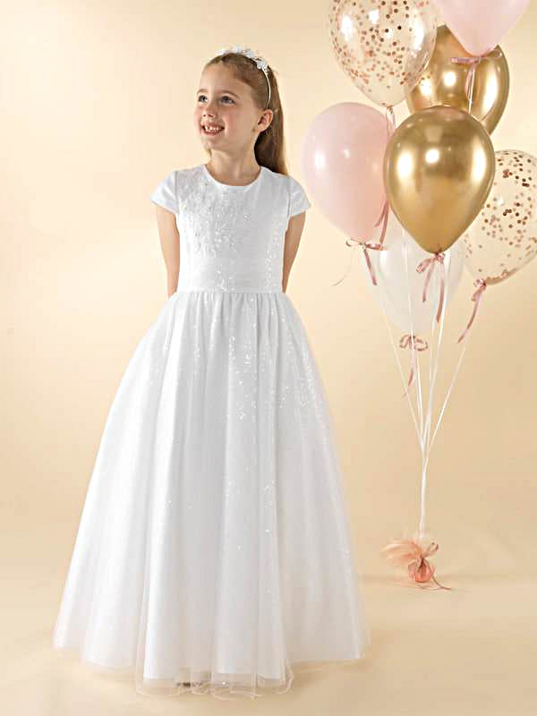 Girls Communion Dress LWCD37WT Little White Collection