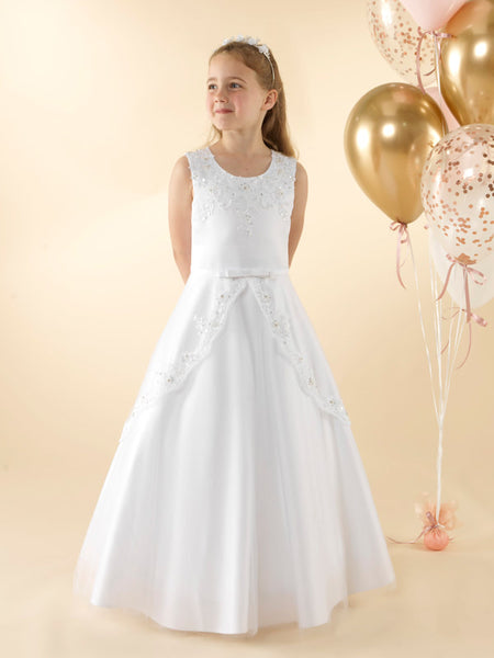 Girls Communion Dress LWD39WT Little White Collection