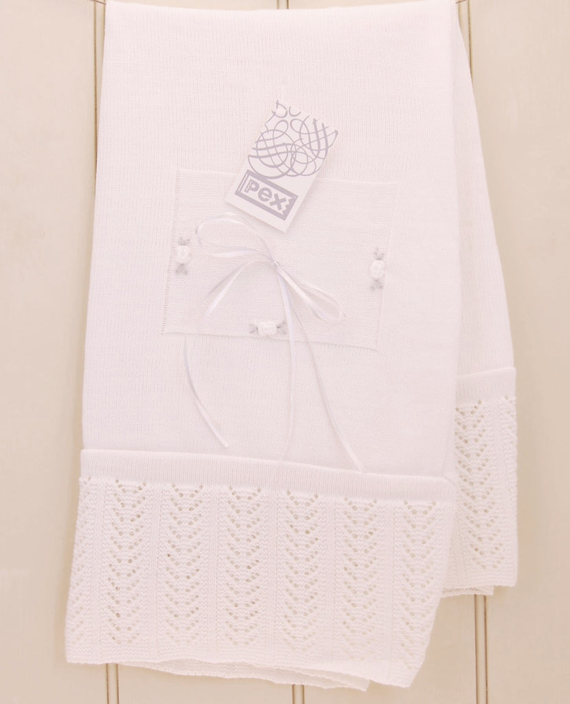 White Christening Shawl with Crochet Knit Boarder and Ribbon Detail