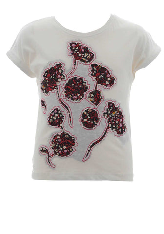 Name it Girls Cap Sleeved Top with Flowers in White