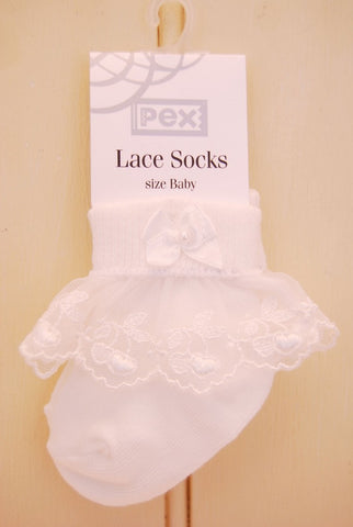 Baby Girl White Cherry Lace Frill Socks