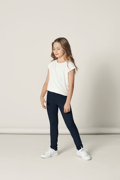 Name it Girls Solid Navy Organic Cotton Sweat Leggings