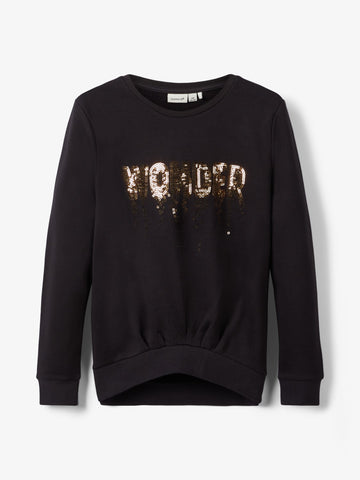 Name it Girls Long-Sleeved Glittery Black Sweatshirt