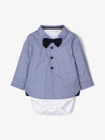 Name it Baby Boy Cotton Shirt & Body Suit with Bow Tie