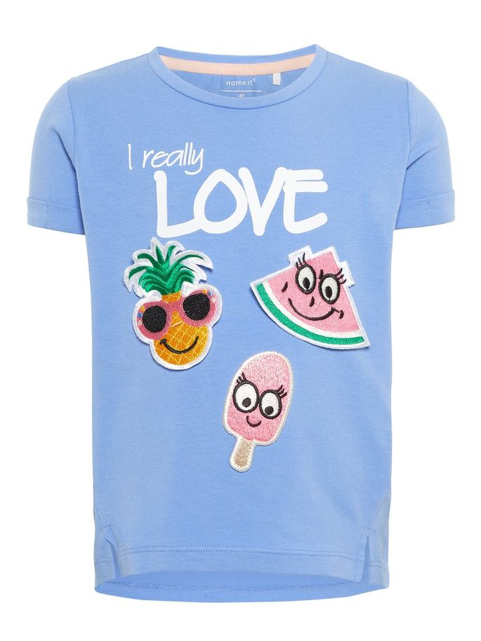 Name it Mini Girl Short Sleeve T-Shirt with Fruity Badges