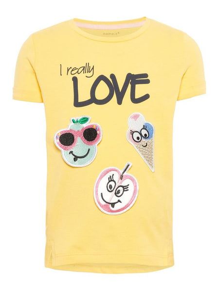 Name it Mini Girl T-Shirt with Fruity Badges