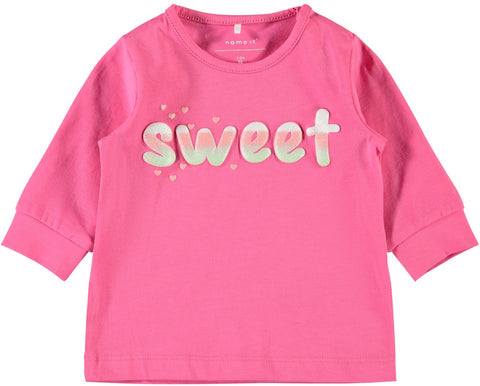 Name it Baby Girl Long Sleeved Pink Top with Sweet Slogan
