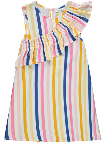 Name it Girls Bright Stripe Spring Dress