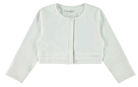 Girls White 3/4 Sleeve Bolero