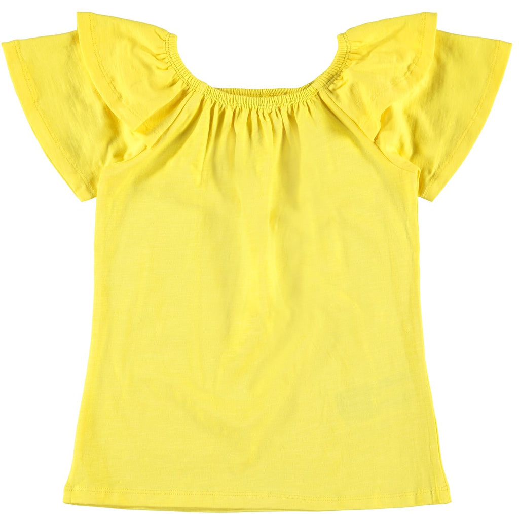 Name it Mini Girl Yellow Frilled Short Sleeved Top