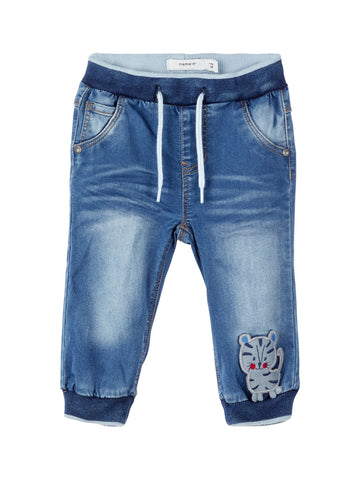 Baby Boy Soft Denim Jeans with Tiger Applique