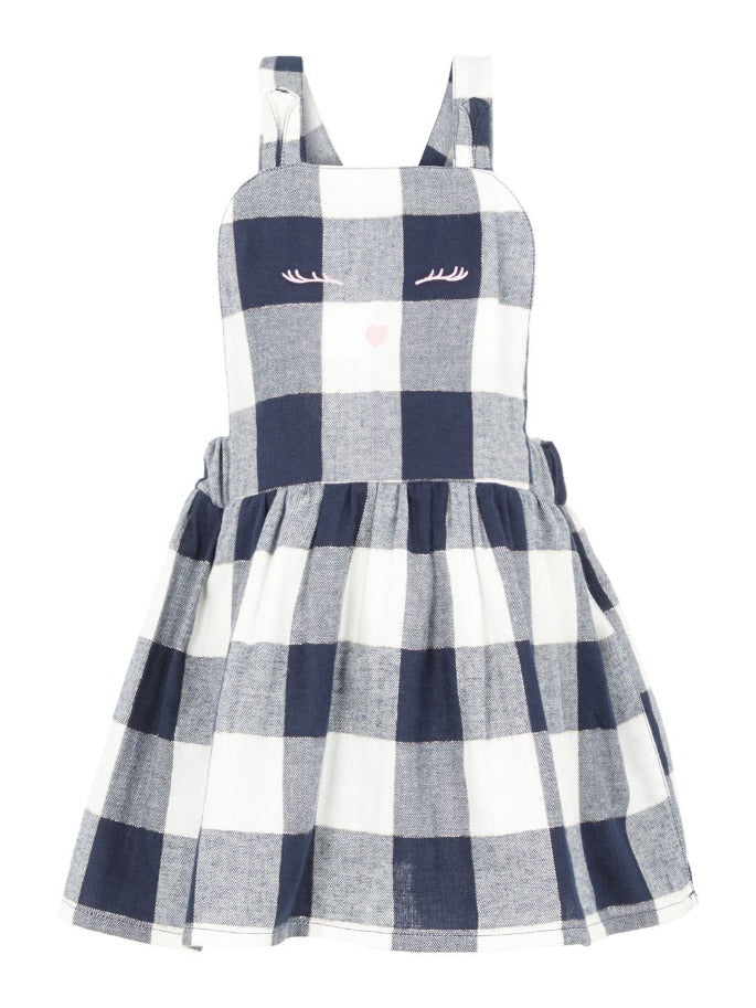Name it Girls Navy Check Pinafore Dress