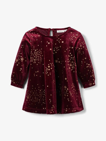 Name It Baby Girl Wine and Gold Velvet Dress