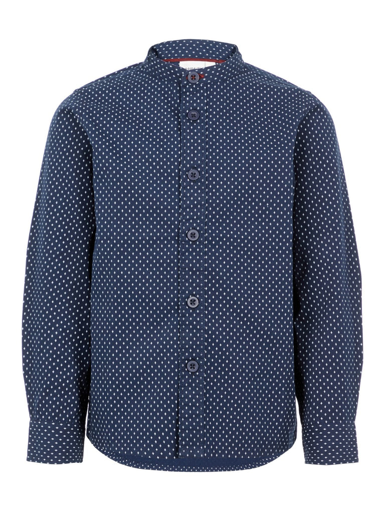Name it Boys Long Sleeved Navy Grandad Collar Shirt