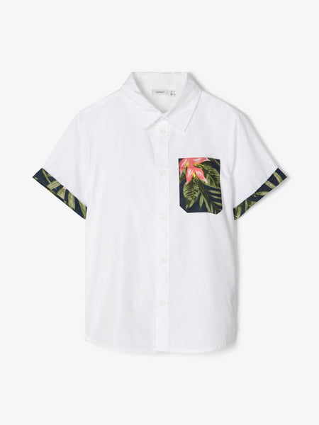 Name it Mini Boy Short Sleeved Shirt with Tropical Print