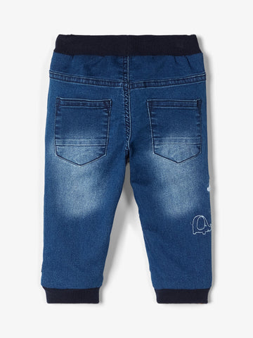 Baby Boy Soft Denim Pull-Up Jeans with Elephant Applique