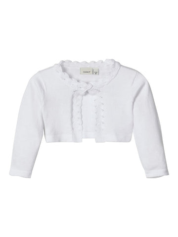 Name it Baby Girl Knitted Bolero Cardigan White & Pink